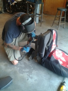 Bobby welding my Jeep seat.